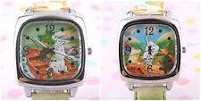 RARE MOOMIN & FRIENDS SQUARE QUITZ LEATHER PAINTED BAND WATCH W/ GIFT BOX 3G1221