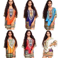 Fashion Women Traditional African Print Dashiki Dress Short Sleeve Party Dress