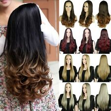 Real Thick Long Curly Straight 3/4 Full Head Half Wig Cosplay Party Brown Red QZ