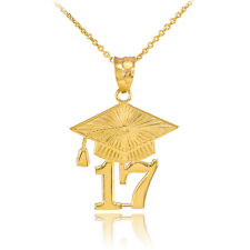 14k Solid Gold 2017 Class Graduation Pendant Necklace