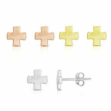 925 Sterling Silver Plain Cross Brushed Texture Stud Earrings