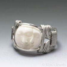 Carved Bone (bovine) Dbl Moon Face Cameo Sterling Silver Wire Ring