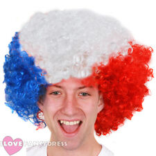 BLUE WHITE AND RED AFRO WIG FRENCH FLAG BASTILLE DAY FANCY DRESS FOOTBALL EURO