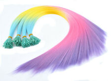 20-100pc Womens Rainbow Colorful Synthetic Feather Grizzly I-Tip Hair Extensions