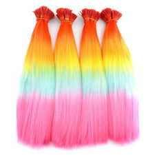 20/50/100pc Rainbow Colorful Synthetic Feather Grizzly I-Tip Hair Extensions New