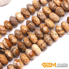 Natural Picture Jasper Gemstone Faceted Rondelle Spacer Beads For Jewelry Making