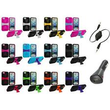 For iPhone 5 5S Hybrid Stand Heavy Duty Hard/Soft Case Cover+Aux+Charger