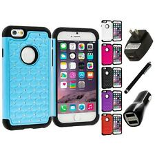 For Apple iPhone 6 (4.7) Hybrid Diamond Impact Hard Bling Case Charger+Stylus