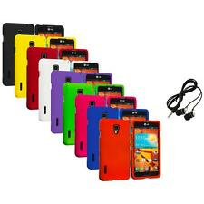For LG Optimus F7 Hard Rubberized Matte Snap-On Case Skin Cover Headphones