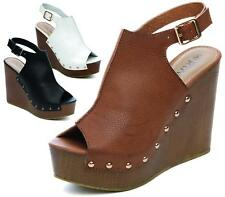 Ladies Wedge Sandals Peeptoe Studded Slingback High Heel Summer Beach Shoes