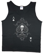 Men's tank top ace of spades skull hipster punk rock biker t-shirt tee