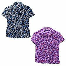 Laura Scott Petite Womens Georgette Daisy Blouse Button Up Short Sleeves SP MP