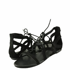 Women's Shoes Bamboo Dino 89S Open Toe Caged Lace Up Sandal Black FS *New*