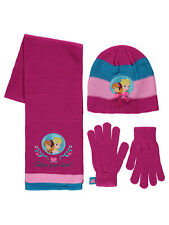 Girls Disney Frozen Anna & Elsa Hat Scarf & Gloves Set Age's 4-8  8-12 Years NEW
