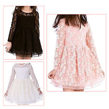 Spring Autumn Girl Lace Princess Dress Hollow Flower Long-sleeved Dresses HY