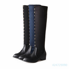 Womens Ladies Cuban Low Heels Shoe Tip Rivet Over The Knee Boots US Size Y1124