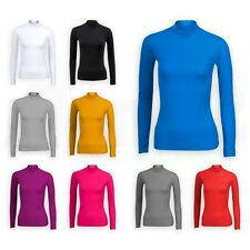 LADIES LONG SLEEVE POLO NECK ROLL NECK TOP WOMENS TURTLE NECK JUMPER 6-22 'polo