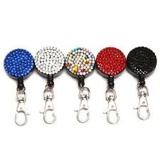Lovely  Crystal Lanyard ID Badge Cell Phone Retractable Rhinestone Reel Holder E