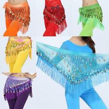 Sexy Belly Dance Triangle Tassels Scarf Wrap Belt Dancewear With 3Layers Sequins