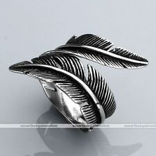 1pc Vintage Punk Gothic Feather Wrap 316L Stainless Steel Mens Finger Rings Gift
