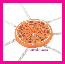 7pc BFF Slice of Pizza Junk Food Necklace Silver Plated Whole Pizza Pie USA MADE