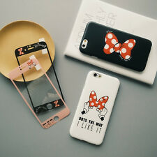 New Cute Disney Polka Dot Bow tempered glass+TPU Case Cover for iPhone 6 6s plus