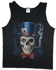 Men's tank top skull top hat gothic biker heavy metal t-shirt sleeveless tee