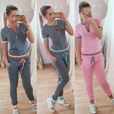 Casual Womens Sport Suit Tops Pants Trousers Soft Jogging Tracksuits