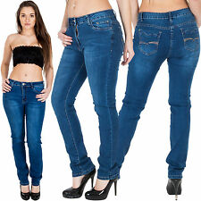 New Ladies Plain Faded Stretchy Straight Denim Jeans Plus Size 10 12 14 16 18 20