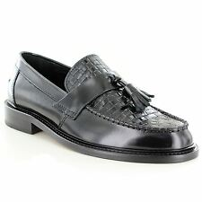 Ikon Weaver Tassel Loafers Black Mens Shoes