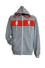 Liverpool FC Full Zip Hoody Mens Grey/Red Football Soccer Hooded Track Jacket