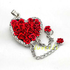 USB 2.0 8GB-64GB Roses heart Crystal Necklace memory diamond pendant Flash Drive