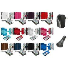 For iPhone 5C Leather Wallet Pouch Case Cover Credit Card ID Holder+2X Chargers