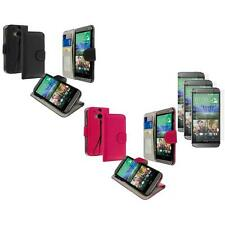 For HTC One 2 M8 Wallet Flip Pouch Case Cover 3X Matte Screen Protector