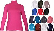 New Womens Turtle Polo Neck Stretch Top Ladies Long Sleeve Tshirt Tops Plus Size