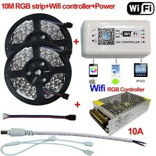 10M 5050 RGB LED Strip Light 12V + Wifi Controller By iPhone Android APP + Power