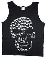 Men's tank top skull made of skulls biker sleeveless tee black t-shirt