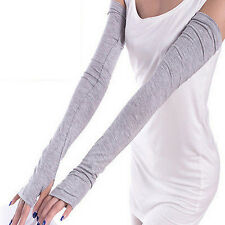 New Fashion Women Lady Sport Driving Extra Long Cuff Fingerless Gloves Sunscreen
