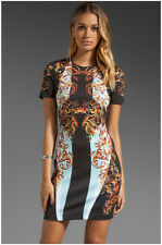 Fashion Paisley Style Personality Printing Short Sleeve Women Slim Dress