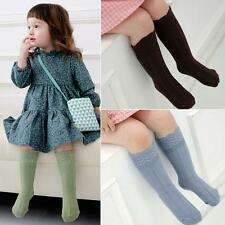 0-4Y Kids Baby Girl Knee Socks Soft Cotton Solid Color Casual Baby Socks M97