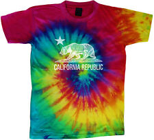 tie dye t-shirt California flag cali bear cool colorful tie dyed tee shirt