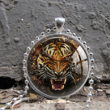 Tiger Face Art Glass Necklace Pendant Jewelry Gift Men Fashion Accessories