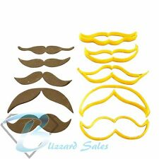 Moustache Shape Cookie Fondant Cutter Set of 5 Birthday Cake Decorating Tools