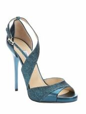 NIB NWT Jimmy Choo Tyne Sandal leather Metallic Stilettos Ocean $850 Retail