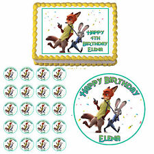 Zootopia Edible Cake Topper Cupcake Cookie Image Decoration Birthday Party