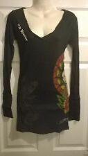 ladies Ed hardy long black top or short dress Size XS small medium large NEW