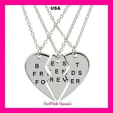 USA BEST FRIENDS FOREVER Large Heart 3 Gold Silver Charm Pendant BFF Necklaces