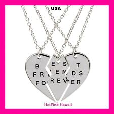 "Free Ship ""BEST FRIENDS FOREVER"" 3pc Half Heart Gold Silver Charm BFF Necklaces"