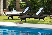 Chaise Lounges Patio Lounge Chair Outdoor Resin Wicker Adjustable Set of 2 Stack