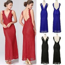 Women Backless Evening Wedding Party Cocktail Bridemaid Maxi Dress Plus Size